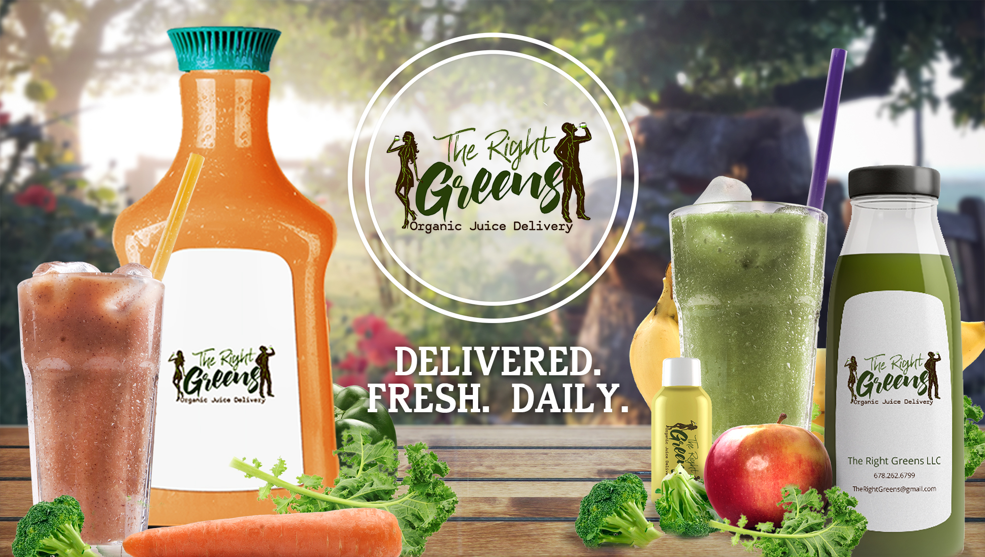 Several The Right Greens products on a table with the logo in the middle. A woman and a man drinking green juice. The Right Greens Organic Juice Delivery